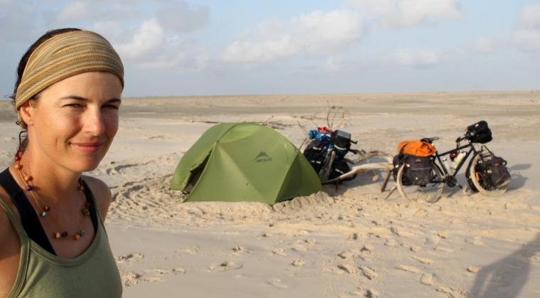 Notre campement sur la plage entre Caburé et Paulino Neves